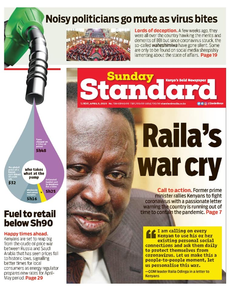 - Raila's war cry in the fight against COVID-19   - Noisy politicians go mute as virus bites  Grab a copy at your nearest vendor  Subscribe: https://newsstand.standardmedia.co.ke/   :pic.twitter.com/yB2d4yu5dG