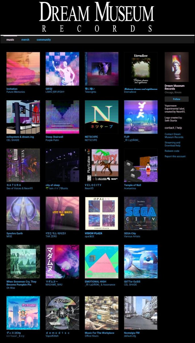 FREE DL CODES for the last few releases will be coming out this week :) in the meantime, go check out what we have released lately!  #vaporwave #mallsoft #plunderphonics #aesthetic #experimental   http://DreamMuseumRecords.bandcamp.compic.twitter.com/0XAjmSSH8r
