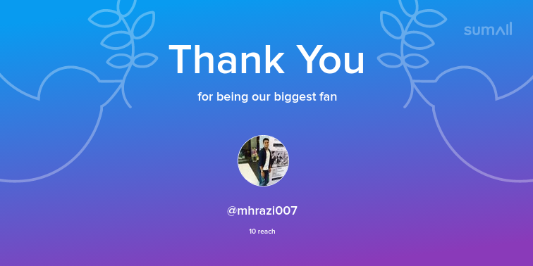Our biggest fans this week: mhrazi007. Thank you! via https://sumall.com/thankyou?utm_source=twitter&utm_medium=publishing&utm_campaign=thank_you_tweet&utm_content=text_and_media&utm_term=1ad4a0055a6aaf1e811b5d38…pic.twitter.com/pyUD1ZlU2P