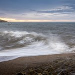 Image for the Tweet beginning: High tide at #Filey   *processing