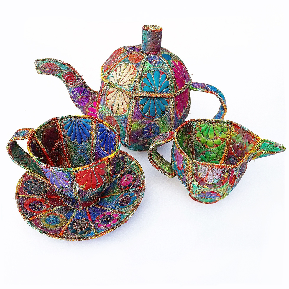 Textile artist Sue Trevor, handmade machine stitched textile #teapot cup and jug, made from hand dyed Egyptian cotton and silk fabrics #womensart