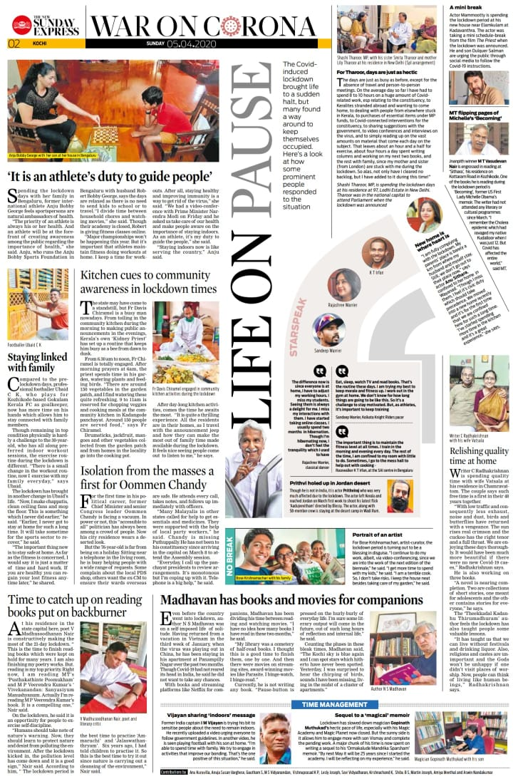 Read @NewIndianXpress Kerala to find what @ShashiTharoor, @KrishBose @NSMlive @mammukka @anjubobbygeorg1, MT, @Oommen_Chandy and others are doing during the #Lockdown21. cc: @MSKiranPrakashpic.twitter.com/RUS62Rotvg