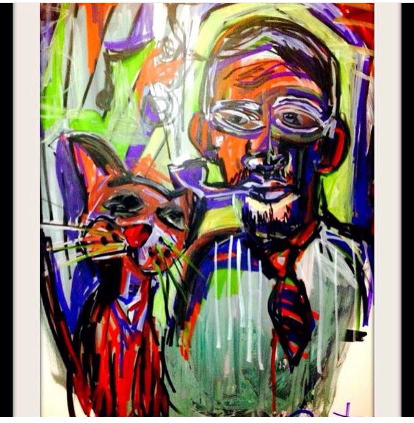 """Musical pipe smoker"" 2013 acrylic on canvas. #ruSsellfrAntom   #artwork #paintingpic.twitter.com/hv7DN1ubrz"
