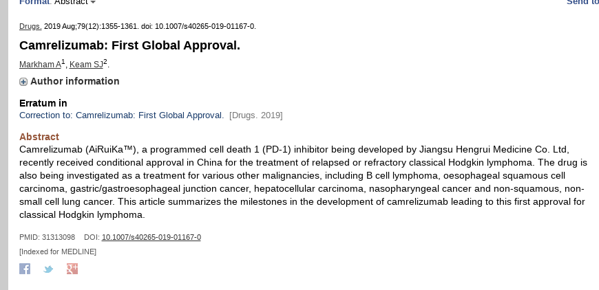 Camrelizumab (AiRuiKa) is a mAb PD-1 inhibitor for cancer by Jiangsu Hengrui.  https://www.ncbi.nlm.nih.gov/pubmed/31313098  https://www.fiercepharma.com/pharma-asia/pd-1-fight-china-enters-new-phase-as-reimbursement-paints-bitter-sweet-future-for-big…  U.S. trial: https://clinicaltrials.gov/ct2/show/NCT04268537…  Indicated mechanism is suppression of T-cell death in sepsis.  I do not expect it to work well in COVID-19. pic.twitter.com/5XIYG5aTA6