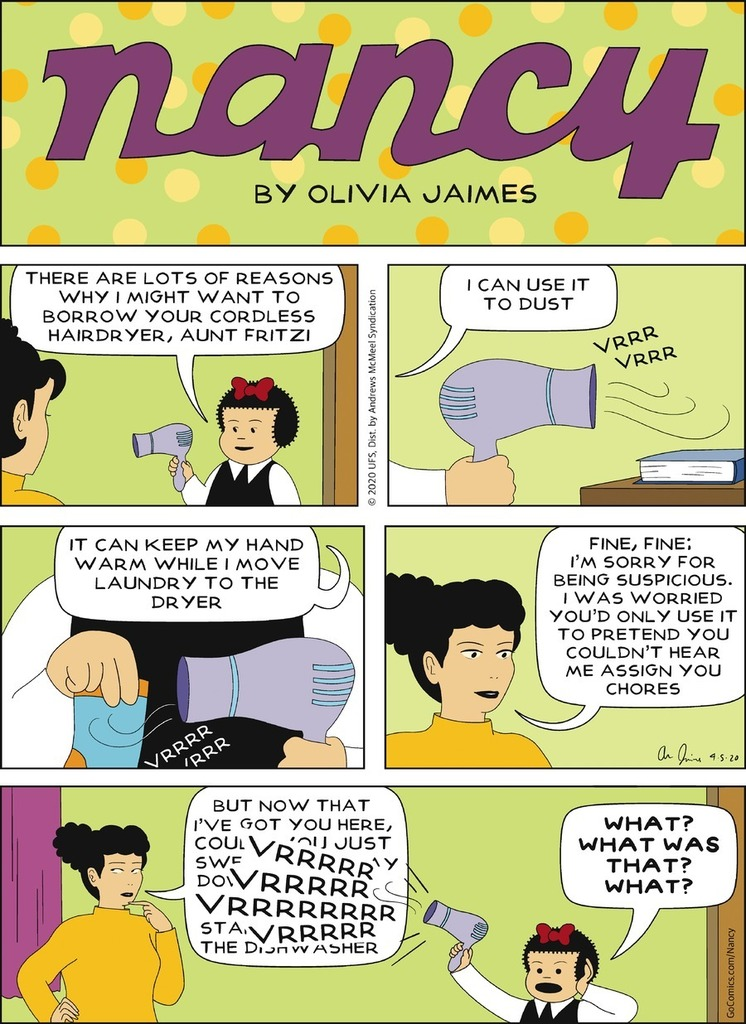 Nancy by Olivia Jaimes for Sun, 05 Apr 2020  https://www. gocomics.com/nancy     <br>http://pic.twitter.com/OUWYssUK6P
