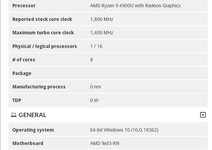 AMD Ryzen 9 4900U appears with integrated graphics in UserBenchmark