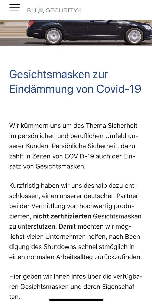 Kurzfristig haben wir uns deshalb dazu entschlossen,einen unserer deutschen Partner bei der Vermittlung von hochwertig produzierten,nicht zertifizierten Gesichtsmasken zu unterstützen.   Tolles Unternehmen, tolle Menschen (persönlich bekannt). #COVID2019   https://www.rhsecurity.de/index.php?id=36pic.twitter.com/iuRLCDUG3S