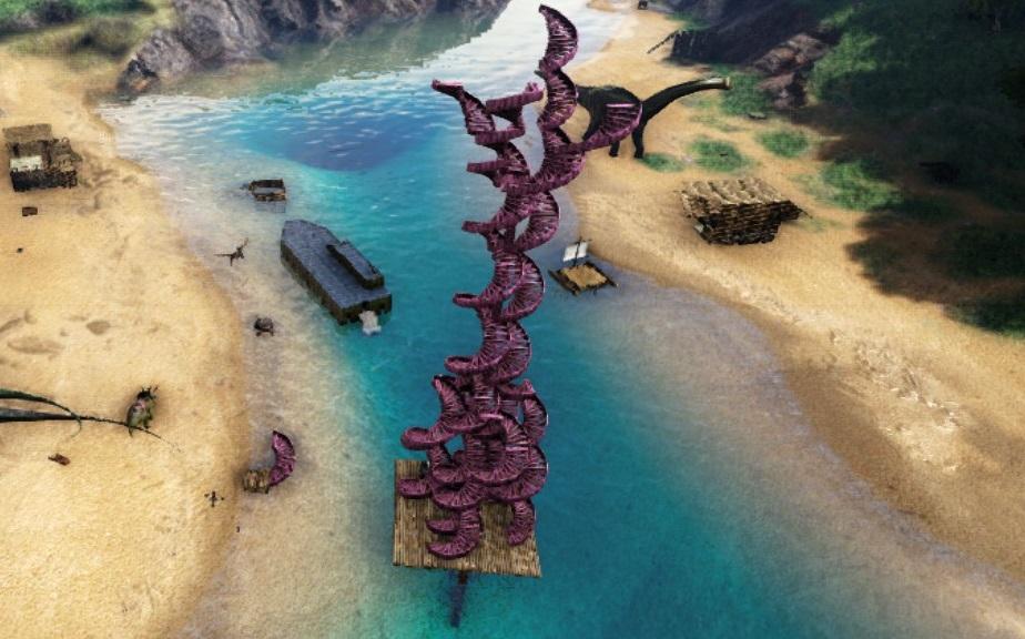 レヴィ殿とラブタワーをピンクに仕上げました!!愛が感じられるこの塔は壊されることは、きっと無いでしょう...!!#にじさんじARK