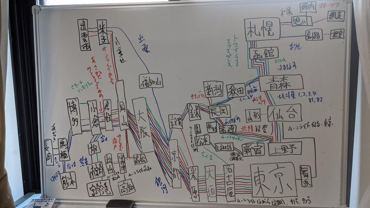 15年前の夜行列車路線図です。季節列車を全部網羅できているかわかりません。