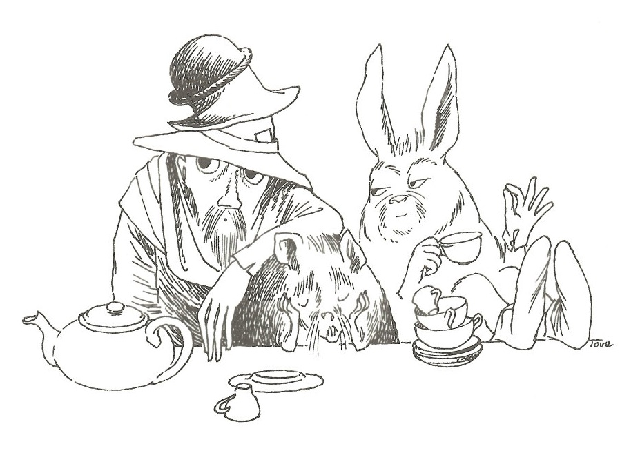 Mad Hatters Tea Party illustration, from Lewis Carrolls Alice in Wonderland, by Finnish artist and Moomins creator Tove Jansson, 1959 #womensart