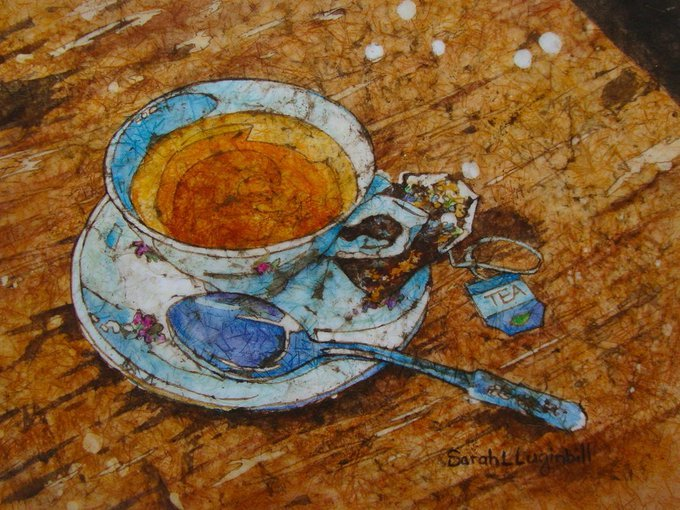 Sarah L Luginbill, US Fine Art artist working in watercolour, and batik #womensart #tea #SundayMorning