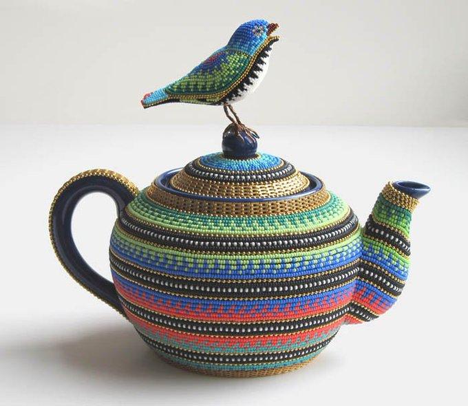 Pretty Pot by Jan Huling, US beadist artist #womensart