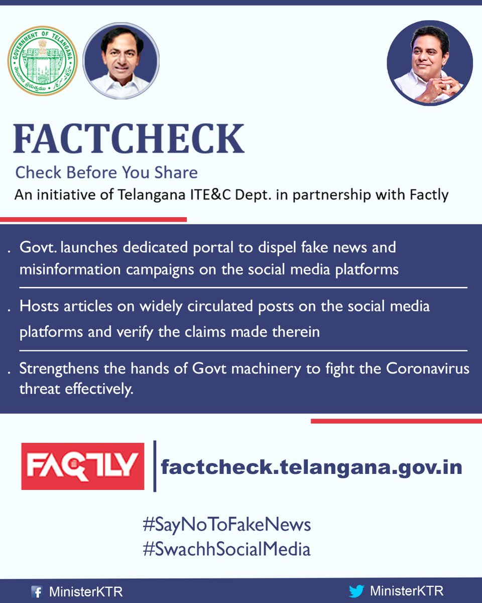 Fighting the 'Infodemic' is as important as fighting the pandemic! Govt of Telangana launches dedicated portal to dispel fake news & misinformation on social media platforms.   Check before you share!  #SayNoToFakeNews #SwachhSocialMedia