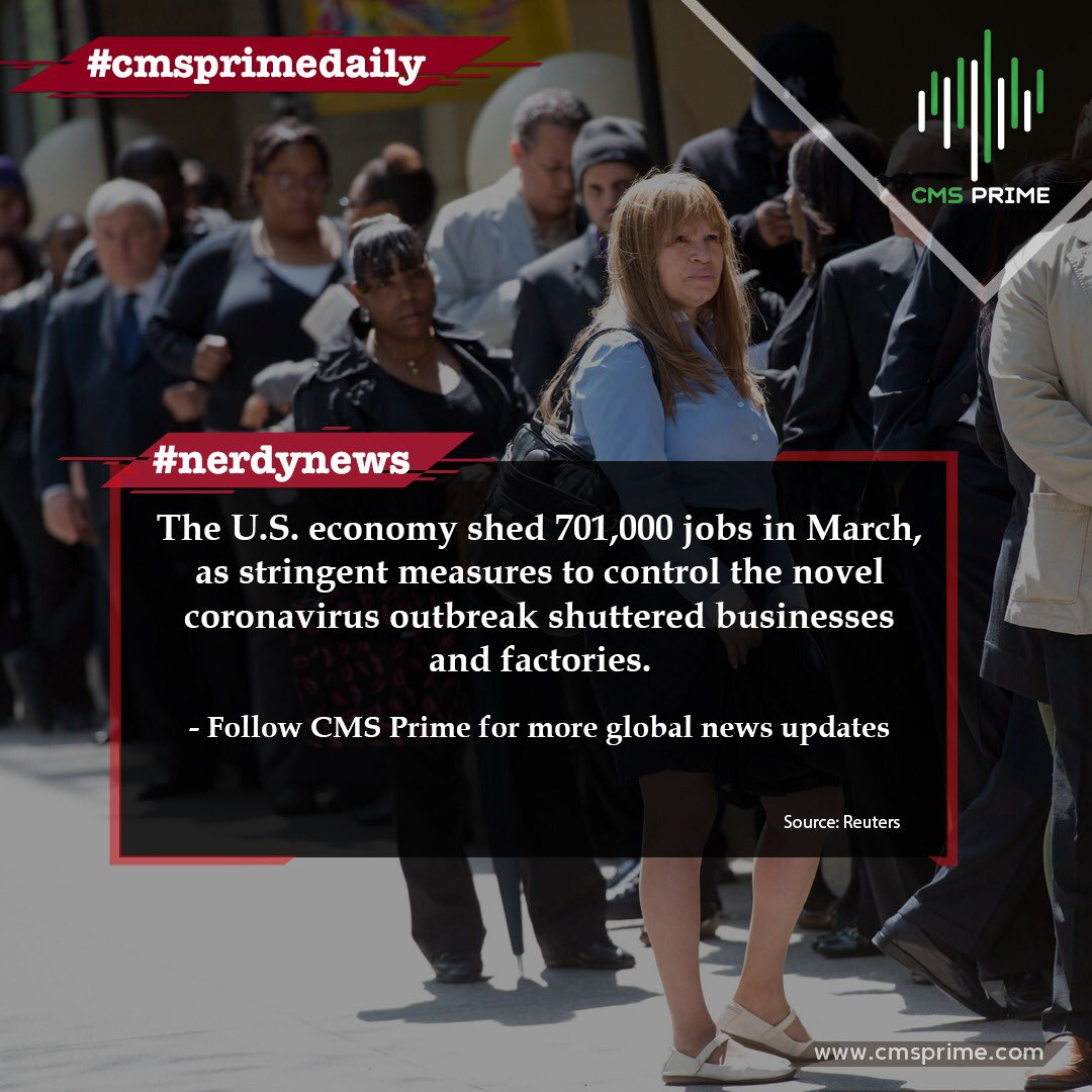 The U.S. economy shed 701,000 #jobs in March, as stringent measures to control the novel #coronavirus outbreak shuttered businesses and factories.  𝐂𝐌𝐒 𝐏𝐑𝐈𝐌𝐄 𝐘𝐎𝐔𝐑 𝐏𝐑𝐈𝐌𝐄 𝐏𝐀𝐑𝐓𝐍𝐄𝐑   #forex #trading #forexsignal #forextrading #trader #cryptocurrency #bitcon