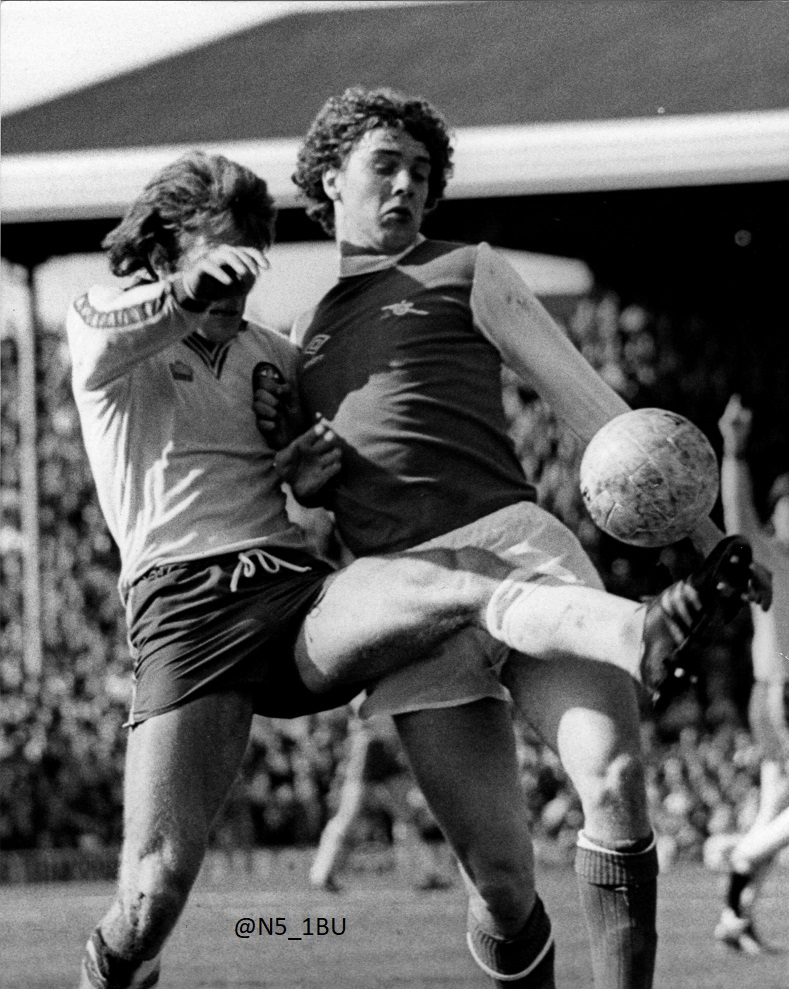 The Arsenal today in 1980 with the late Paul Vaessen playing against Southampton.