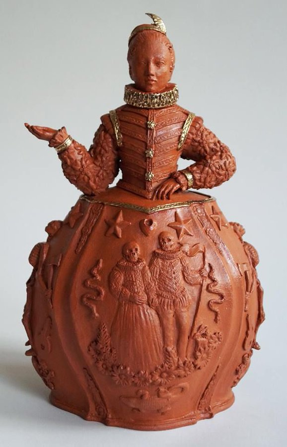 Dutch Teapot by Claire Partington, artist known for her ceramic figures fusing historic, folkloric and contemporary themes #womensart