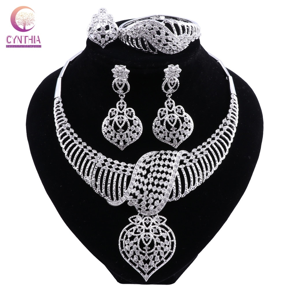CYNTHIA New Fashion African Jewelry Set Dubai Silver Plated Bridal Necklace Earrings Set Crystal Indian Wedding Jewelry  #highquality|#jewelry|#silver|#gold