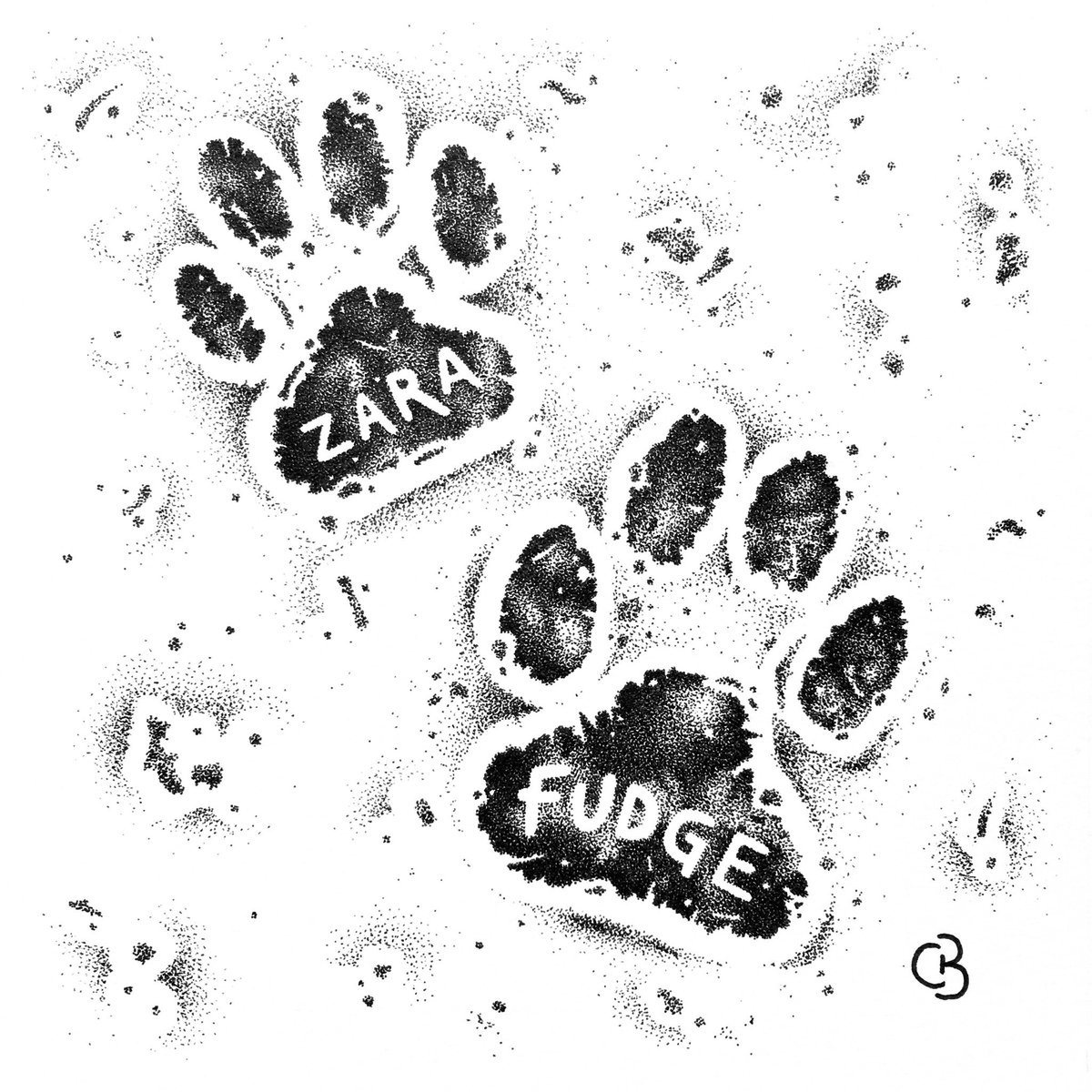 Another #personalised product with these #handdrawn #pawprints 🐾 a whole lot of dots in this one...!   #dog #labrador #giftideas #creativegifts #personal #penandink #blackandwhite #madetoorder #oneofakind #art #design #fineart #unique  #highstridesoc #localartist #birmingham
