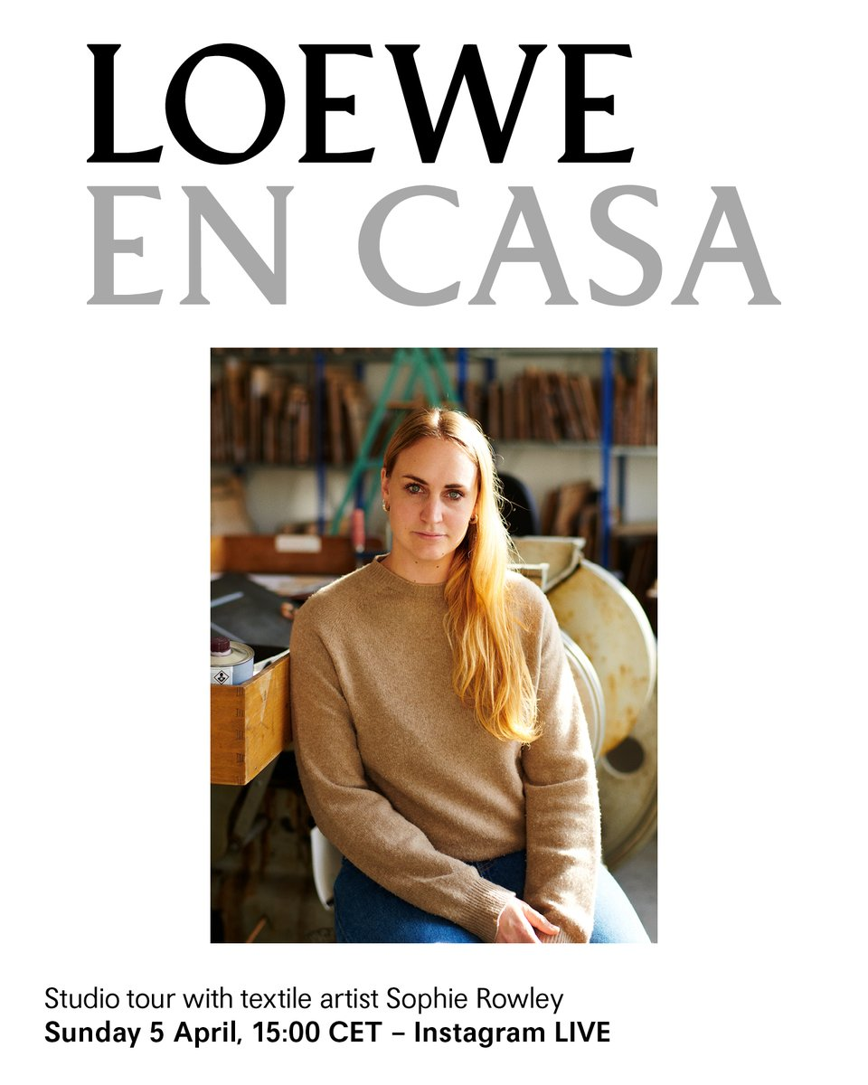As part of 'LOEWE EN CASA' - a series of online events and workshops to enjoy while you #StayAtHome - textile artist Sophie Rowley will be holding a live tour of her studio. Sunday 5 April, 15:00 CET – LOEWEs Instagram LIVE #StayHome