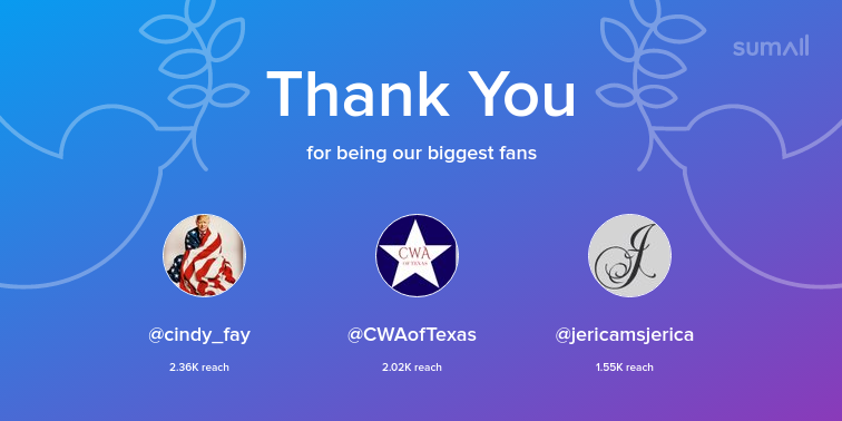 Our biggest fans this week: cindy_fay, CWAofTexas, jericamsjerica. Thank you! via sumall.com/thankyou?utm_s…