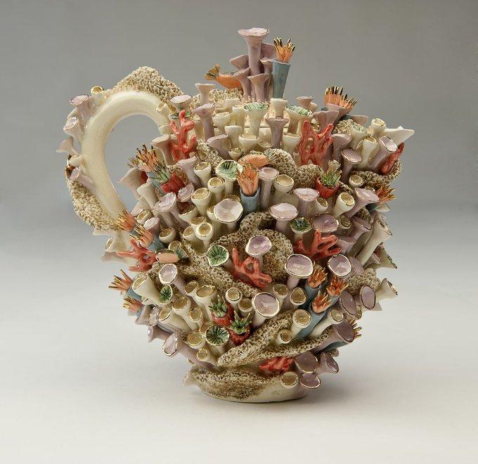 Avatar Reef teapot by UK based ceramicist Delfina Emmanuel, who creates work often inspired by marine life #womensart