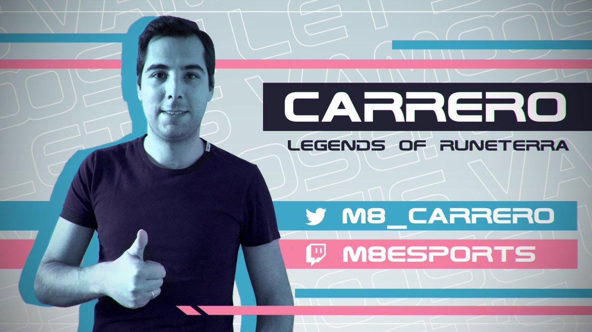 ¡Damos la bienvenida también a @m8_carrero! Jugador experimentado de Keyforge que lo dará todo en @RuneterraES Campeón de Gamergy 2019. ¡Mucho amor para él también gente!  #LetsVamoosepic.twitter.com/fne0fNQ0eE