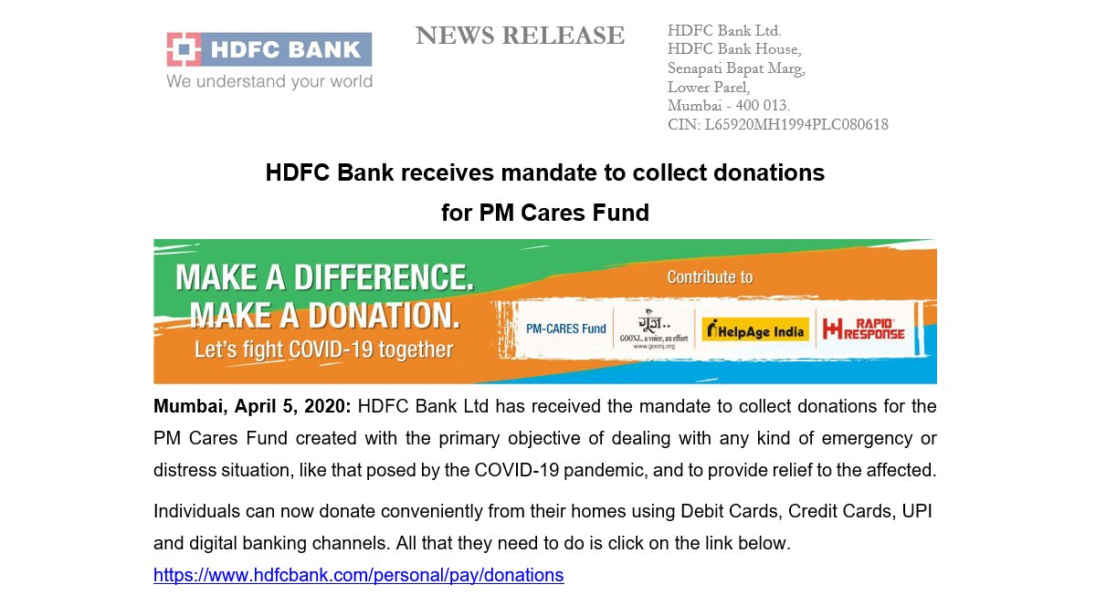 .@HDFC_Bank has received the mandate to collect donations for the #PMCaresFund created for dealing with any kind of situation due to #COVID19. #Donations can be made conveniently using #DebitCards, #CreditCards & #DigitalBanking: https://t.co/7CMAKjW1Dl. #IndiaFightsCorona https://t.co/fSrhiGoRyc