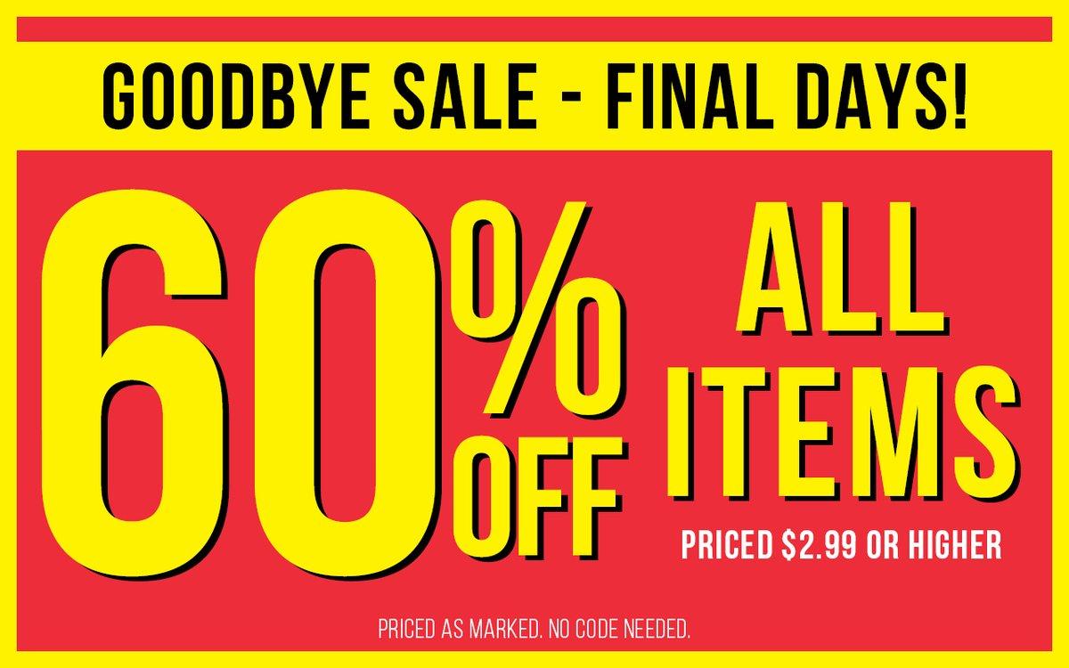 Final Days... All items, now 60% off! https://t.co/rFEOgt31bu https://t.co/R77TiyZpM5