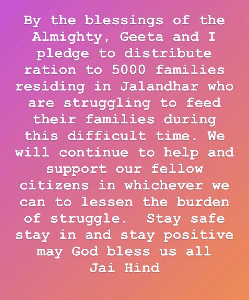 Satnam waheguru.. bas Himmat hosla dena 🙏🙏 @Geeta_Basra and I pledge to distribute ration to 5000 families from today 🙏🙏 May waheguru bless us all