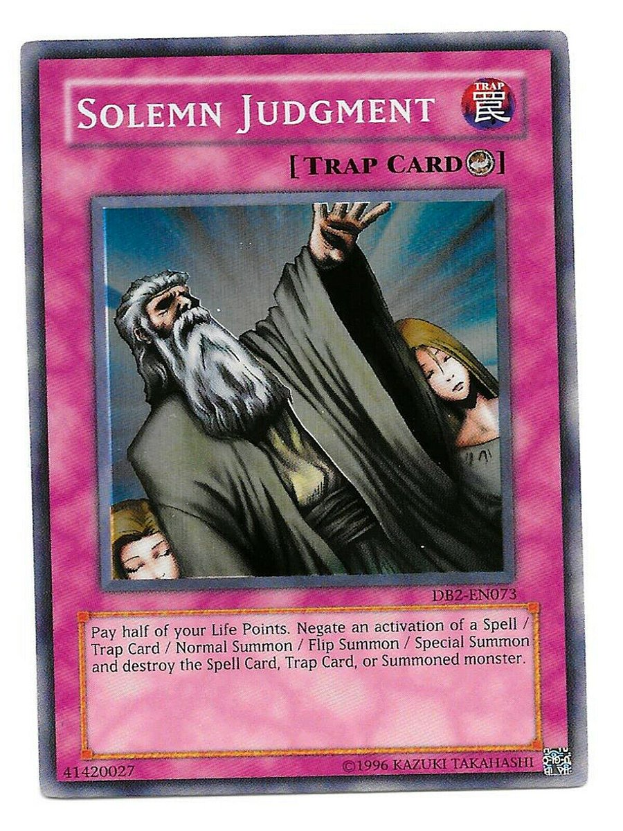 YU-GI-OH Card Solemn Judgement Super Rare DB2-EN073 Dark Beginnings 2 Unlimited https://t.co/LXJSED4hpF #ebay @ebay #yugioh #yugiohcards #CCG #CollectibleCards #cards #SolemnJudgement #SuperRare #DB2EN073 #TrapCard #DarkBeginnings2 #Unlimited https://t.co/9Jen954h0R