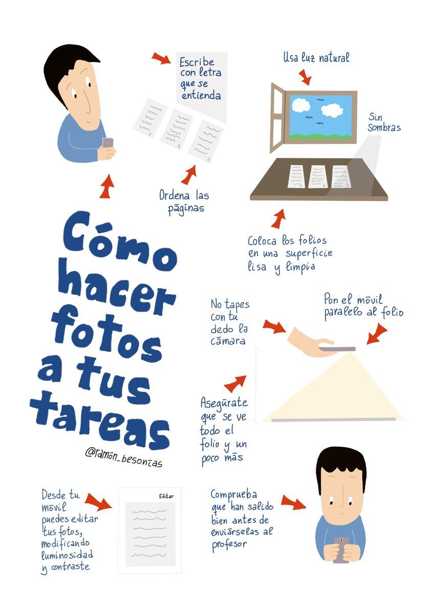 """Ramón Besonías on Twitter: """"He creado esta infografía sencilla para enseñar  a los alumnos cómo hacer fotos a tus tareas desde su móvil. Enlace a la  infografía en mejor calidad: https://t.co/O91KX7WDRo @enmarcha @"""