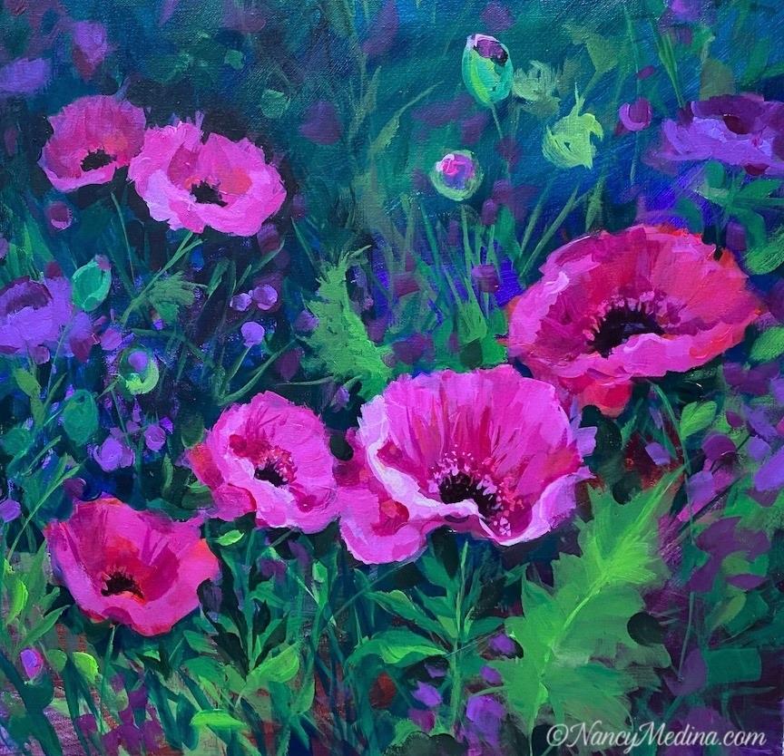 'Butterfly Garden Pink Poppies' by Nancy Medina #art pic.twitter.com/XptUuNLlip