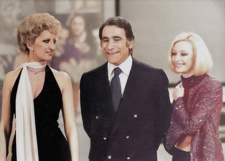 """Mina, Corrado e Raffaella Carrà in """"Milleluci"""" (1974) nella puntata sulla televisione."""