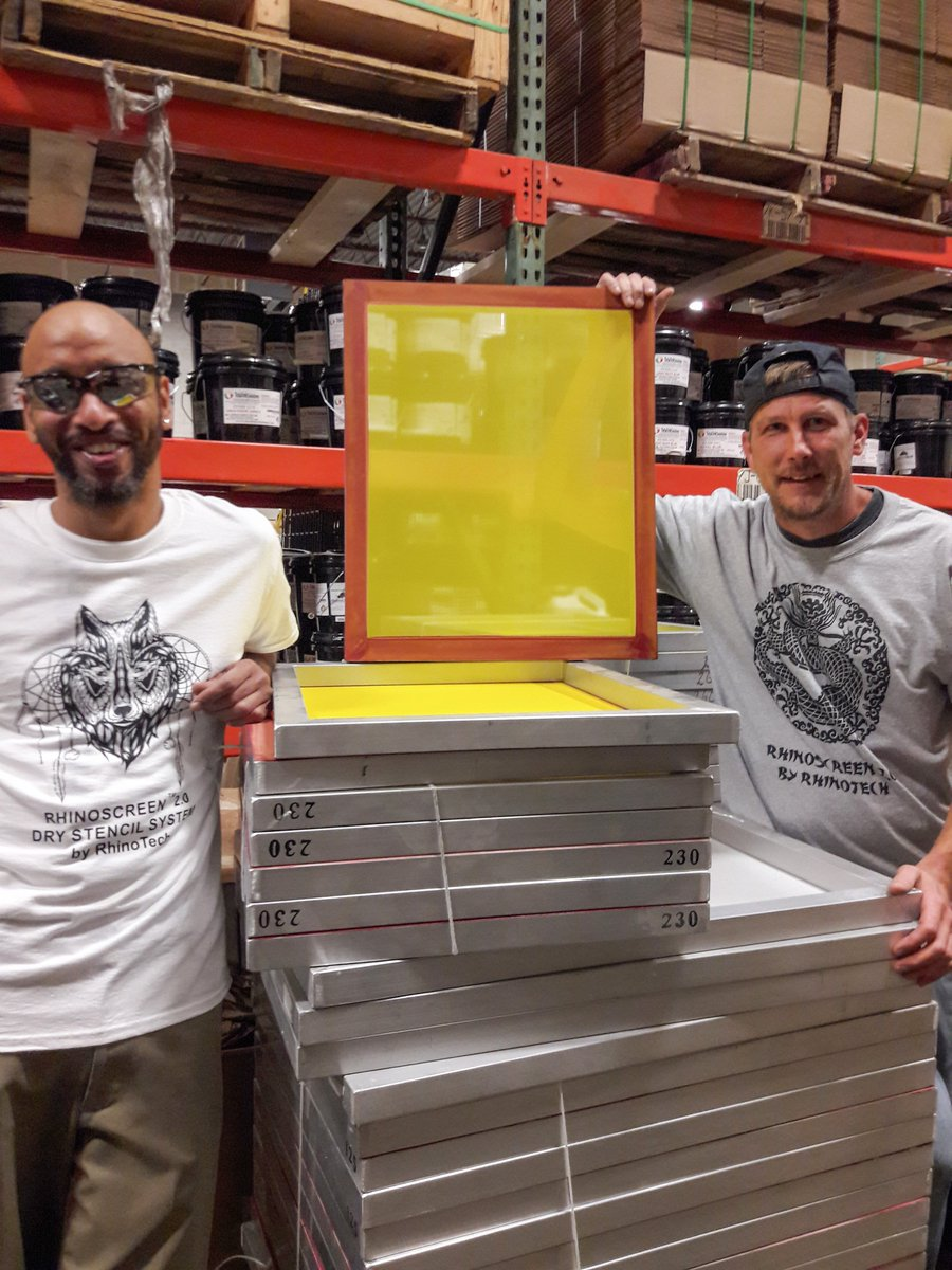 Do you use aluminum or wood frames?    Aluminum Frames don't warp and hold tension longer than wooden frames.  Our Aluminum Meshed Frames are in stock!  Learn more visit http://rhinotechinc.com  #screenprinting #screenprintinglife #screenprintingshop #screenprintingaddictspic.twitter.com/IsrSl7CUXr