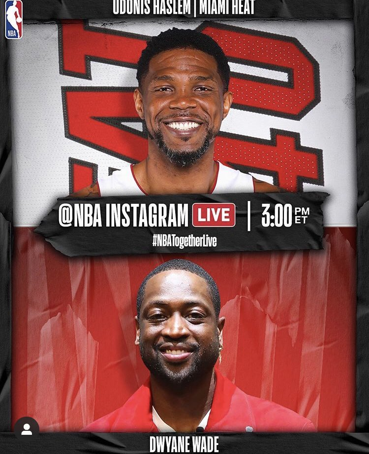 UD and Dwyane Wade reunited? Yup. They'll be on NBA Instagram today chatting at 3pm.