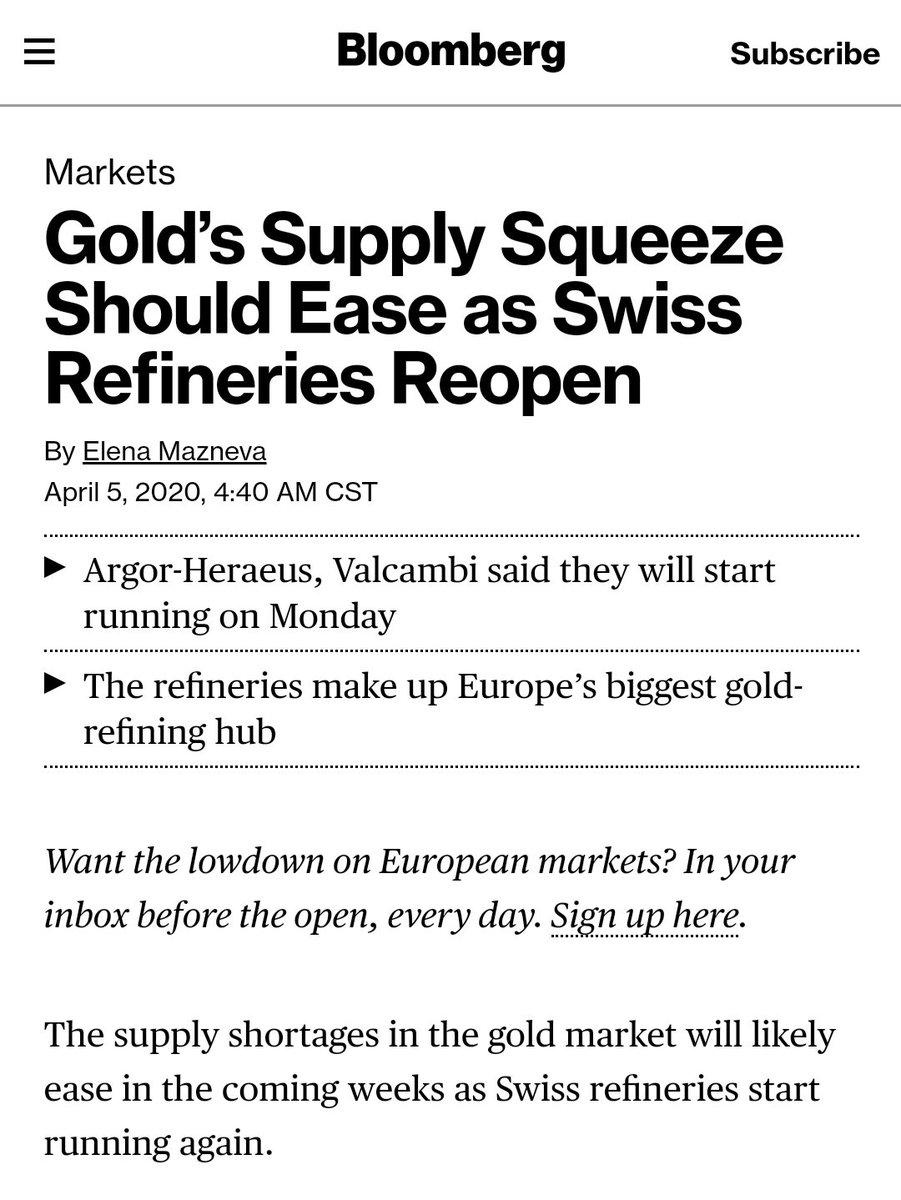 Swiss refineries to reopen tomorrow #Valcambi #Argor. Let s see how the physical #gold market react. pic.twitter.com/UMkDYUKsnV