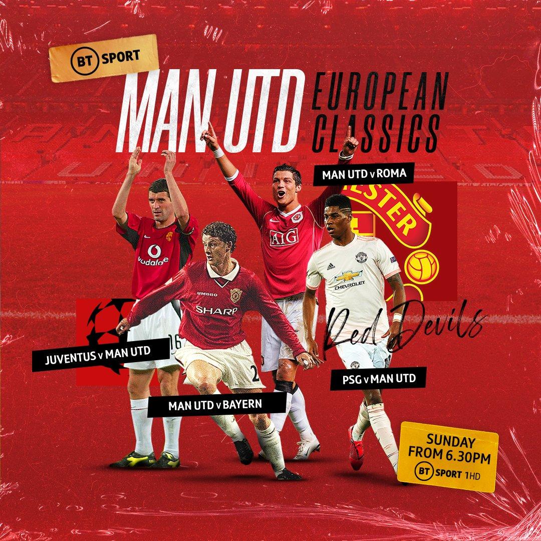 We've got four classic Manchester United Champions League games for you this evening!   BT Sport 1 HD 6.30pm: Juventus vs Man Utd 1999 7pm: Man Utd vs Bayern 1999 7.30pm: Man Utd vs Roma 2007 8pm: PSG vs Man Utd 2019  Enjoy!  <br>http://pic.twitter.com/AaivTTLozx