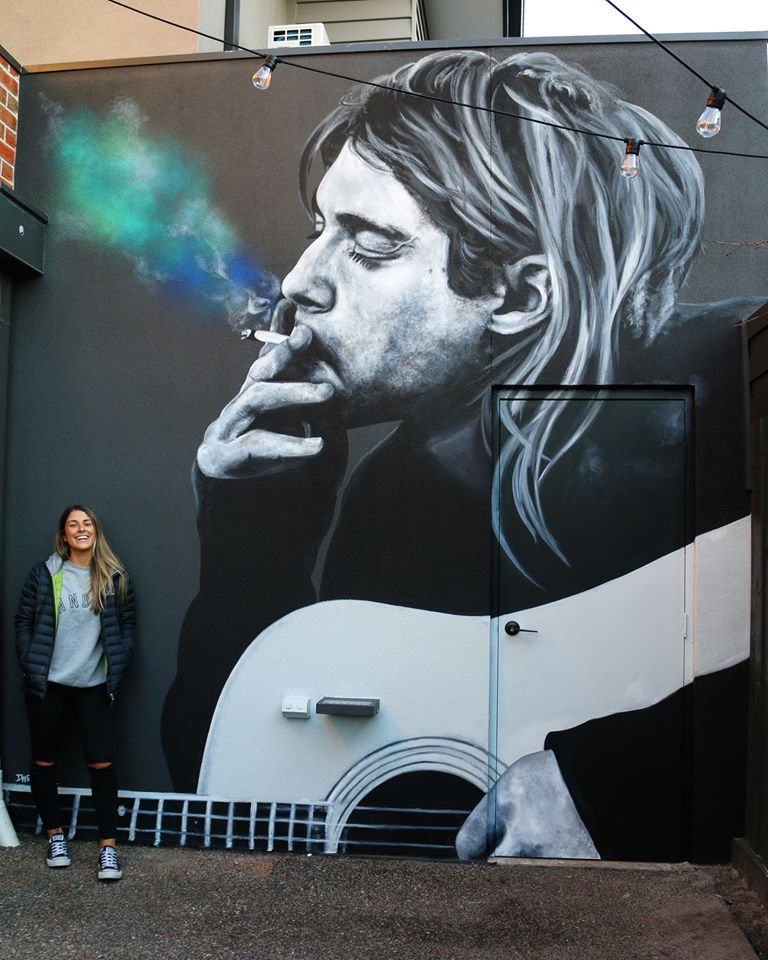 ... so, Kurt, I'd rather listen to your new music, don't think about the day you left us... in this dark era. We miss you. Art by Danielle Weber #StreetArt #Art #KurtCobain @Nirvana #Missyou #Music #Love #Guitar #Poetrypic.twitter.com/ALweYOWcp2