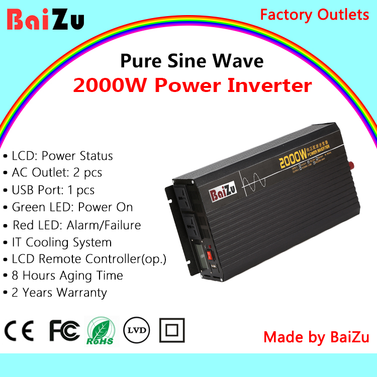 BaiZu 2000W Pure Sine Wave Power Inverter * Rated Power: 2000W * Peak Power: 4000W * Input Voltage (Range) DC 12V、DC 24V、DC 48V * Output Voltage (Selectable) 100VAC / 110VAC / 120VAC / 220VAC / 230VAC / 240VAC * USB Port Output 5V/2.1A CE、FCC、RoHS、LVD Warranty: 24 Months <br>http://pic.twitter.com/g9CIzlEqct