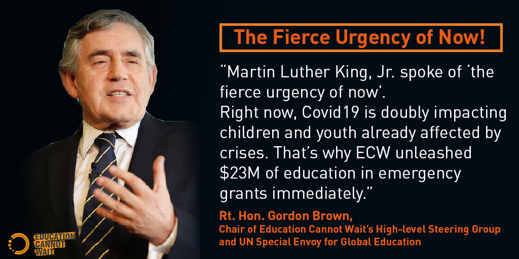 There has never being a fiercer urgency than now to act for Education.  #EducationCannotWait responds to #COVID19
