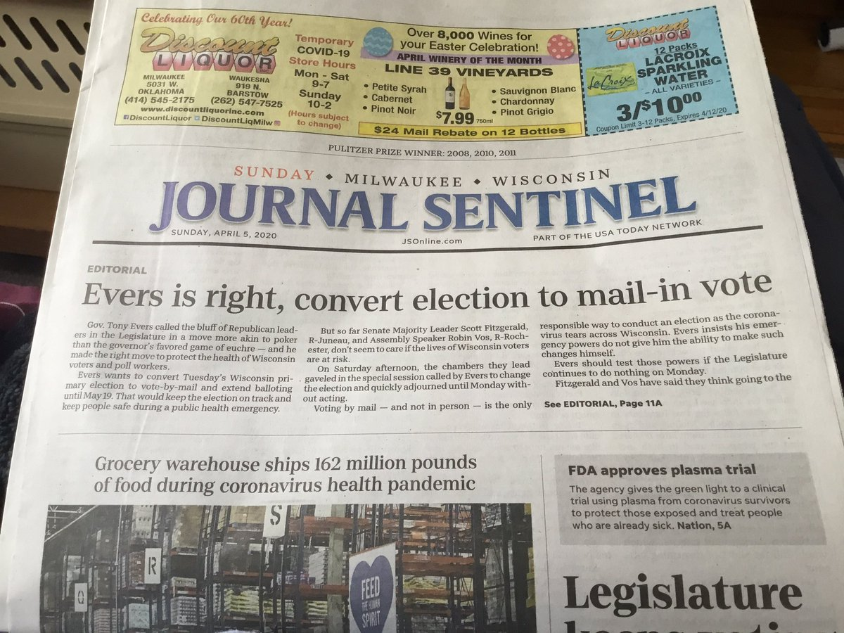 Folks, even the Journal Sentinel agrees.  When was the last time you saw an editorial on page 1A on a Sunday? #Wisconsin #Election<br>http://pic.twitter.com/kAsi4gXBtS