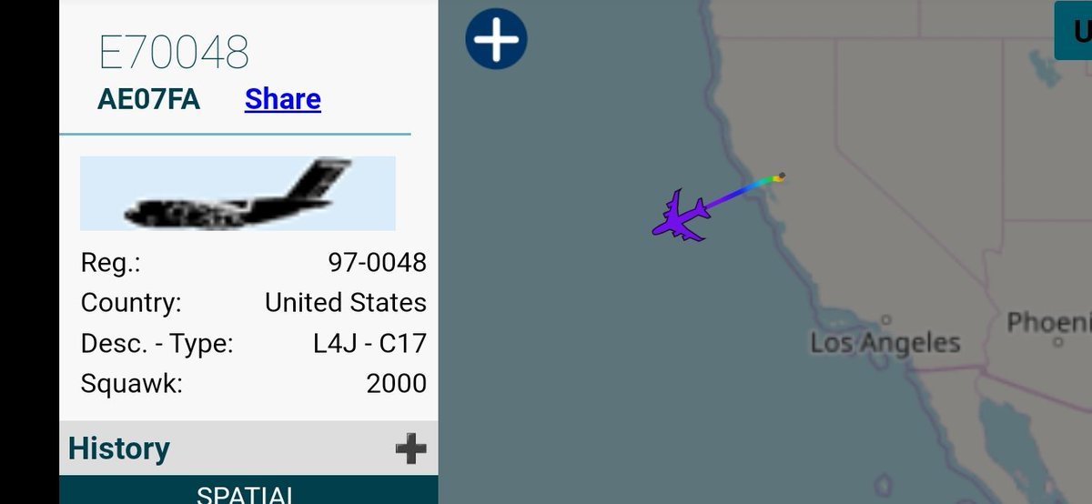 Evac callsign for an outbound C-17 from Travis AFB.  E70048 is reg. 97-0048, ICAO AE07FA, assigned to USAFR 89th Airlift Sqn, 445th AW out of Wright-Patterson AFB, OH. <br>http://pic.twitter.com/WjWNmEXs8w
