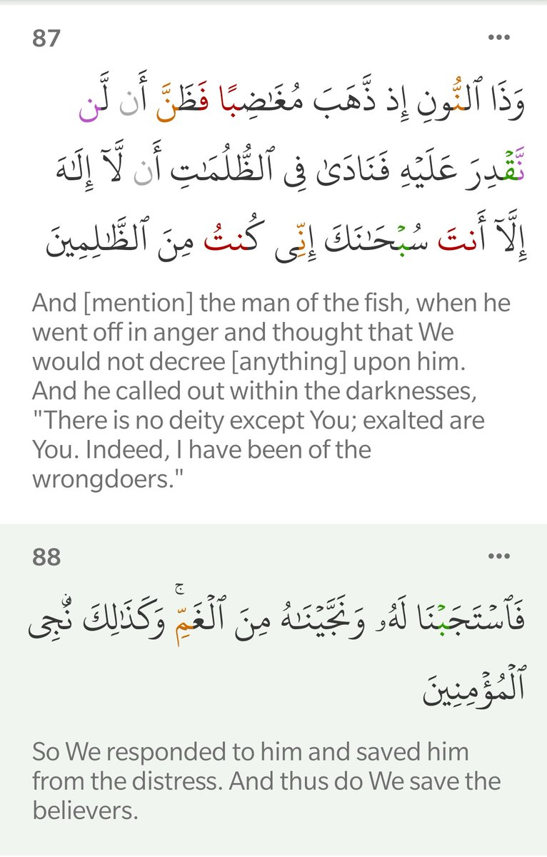 """Surah Al-Anbiya (21:87-88)  The Du'a of Prophet Yunus (as) while he was stuck in the belly of the whale:  """"There is no deity except You; exalted are You. Indeed, I have been of the wrongdoers."""" pic.twitter.com/oqqgzl4Rm7"""