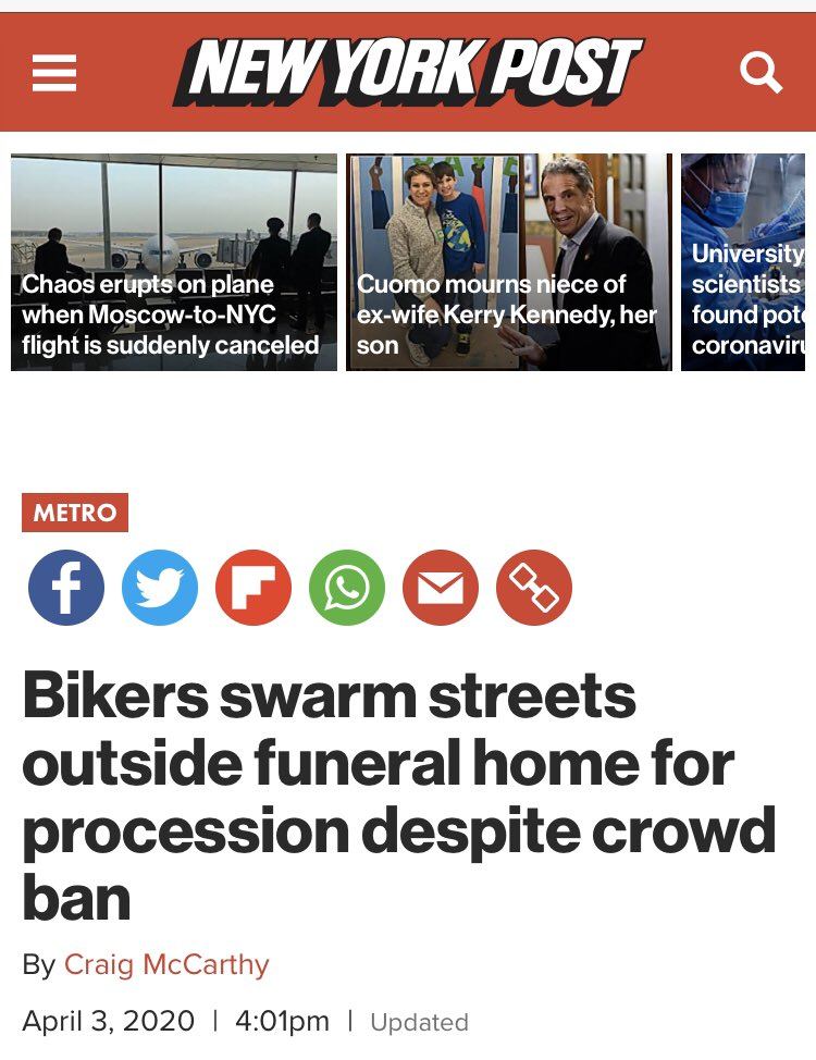 This NY Post headline about bikers packing a funeral does not mention the geographic source of this and the racial/ethnic make up of the bikers. But when it comes to Orthodox Jews a fraction of this size, the location/ethnicity is all over the headline and story. @createcraigpic.twitter.com/ucegwuSYTZ