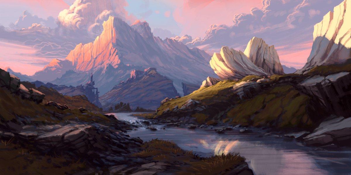 Caldur. Started yesterday some hours on live steam #digitalart #fantasy #landscape #practice #krita #environment #sunset #mountain #riverpic.twitter.com/MUTDtG7ft8