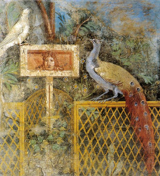 Fresco of a peacock (Juno's sign) from #Pompeii, now in the Archaeological Museum of Naples. #art pic.twitter.com/tpZILldkqH