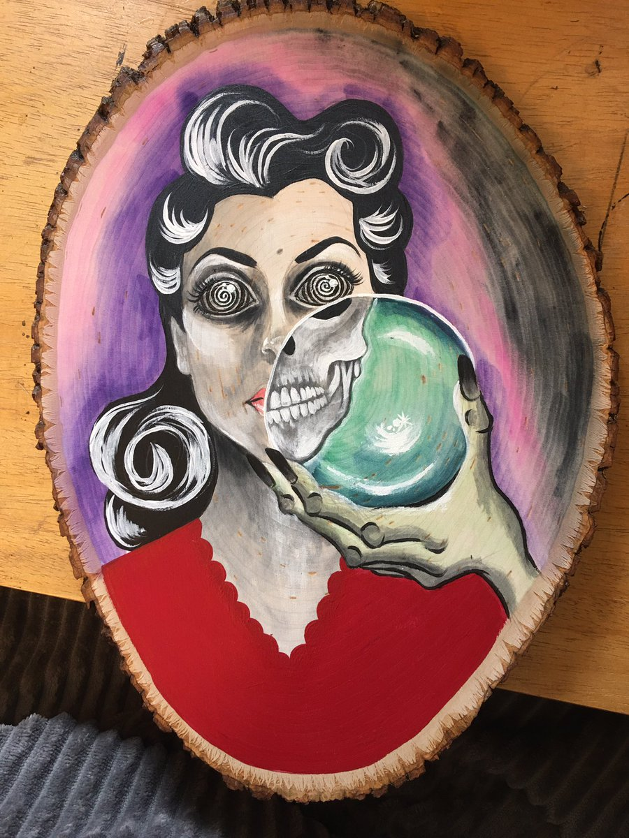 Another painting on wood, finished.  When this is all over, I should make a list of each piece I did while shut in my house. #horror #HorrorArt #horrorartist #vintagehorror #pandemicpic.twitter.com/BBkbx0WKRp