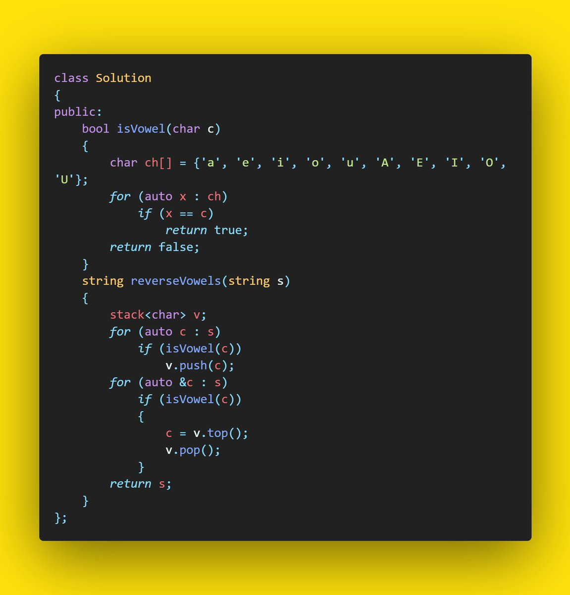 Day 155: LeetCode: 345. Reverse Vowels of a String  #coding #everyday #coder #codinglife #daily #myday #programminglife #programmer #screen #developer #love #100daysofcode #programming #program #365codingphasechallenge #programmer #code #codingphase #codingpicspic.twitter.com/PgqD2rfjU3