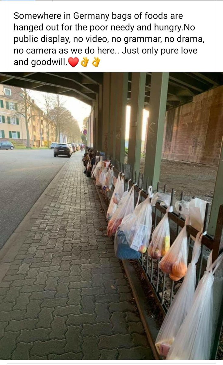 Somewhere in Germany bags of foods are hanged out for the poor needy and hungry. No public display, no video, no grammar, no drama, no cameras as we do here.. Just only pure love and goodwill. #Germany pic.twitter.com/bYDorz7kuy