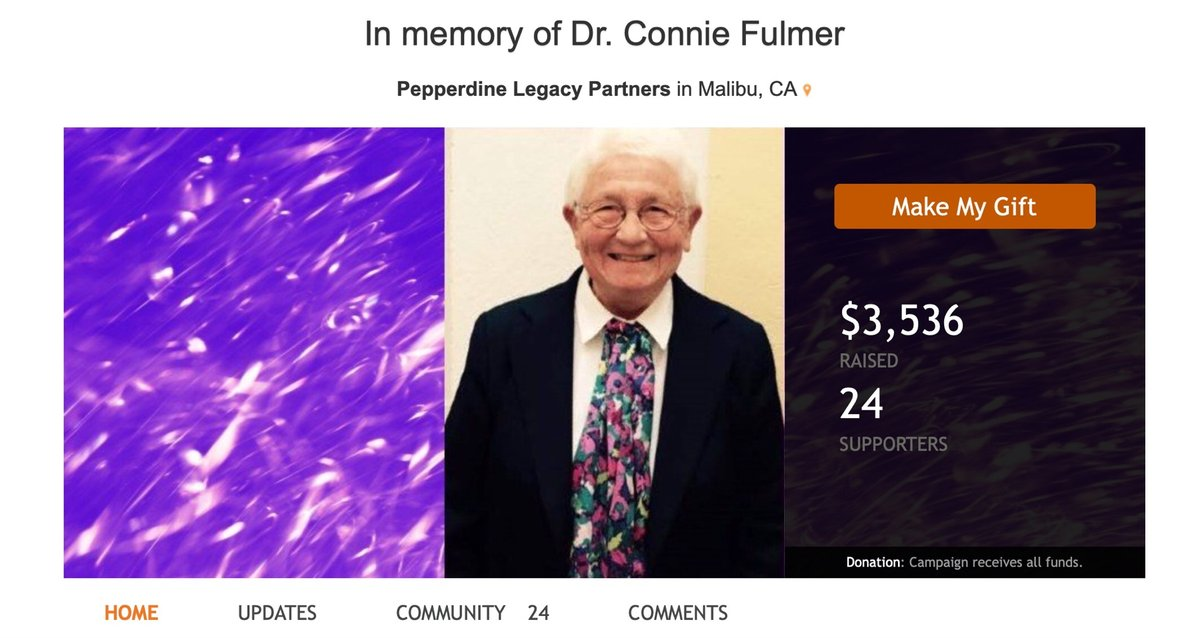 At Dr. Constance Fulmer's request, Pepperdine Legacy Partners is collecting gifts in her memory as donations to the Helen Young Memorial Scholarship. Fulmer passed away on March 17 from pancreatic cancer. The fund has raised over $3,500 from 24 supporters: https://pepperdine-graphic.com/constance-fulmer-honored-through-helen-young-memorial-scholarship-donations/ …pic.twitter.com/JRDZusBzTG